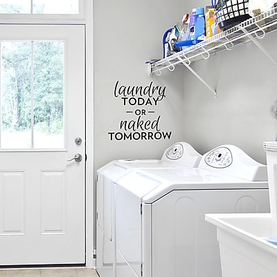 Wallums Wall Decor Laundry Today or Naked Tomorrow Wall Decal; Pink