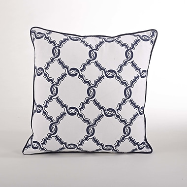 Saro Nantucket Chain Link Cotton Throw Pillow; Navy Blue