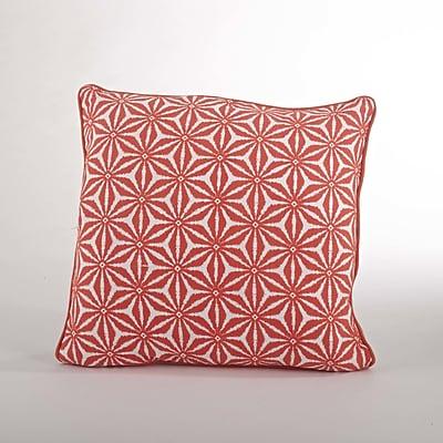 Saro Andalusia Tile Cotton Throw Pillow; Tangerine