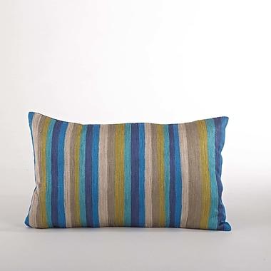Saro Particolored Striped Cotton Lumbar Throw Pillow; Ocean Blue
