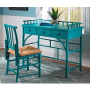 Kenian Coastal Chic Petite Writing Desk and Chair Set; Turquoise