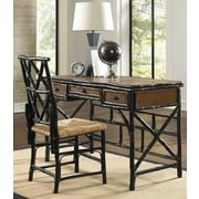 Kenian Coastal Chic Writing Desk and Chair Set; Black/Tortoise