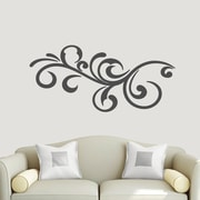 SweetumsWallDecals Decorative Flourish Scroll Wall Decal; Dark Gray