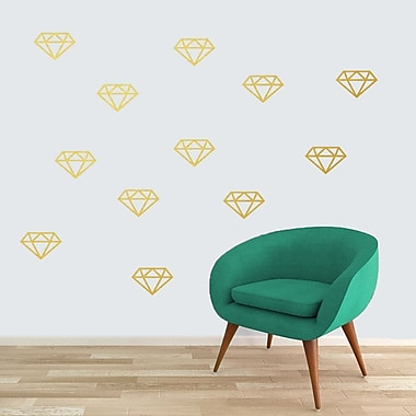 SweetumsWallDecals Diamonds Wall Decal (Set of 12); Gold