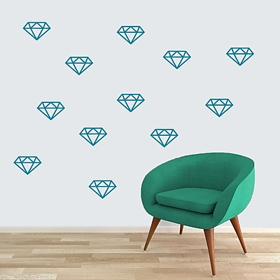 SweetumsWallDecals Diamonds Wall Decal (Set of 12); Teal