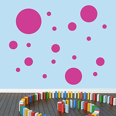 SweetumsWallDecals Dots Pack Wall Decal; Hot Pink