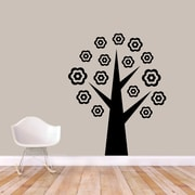 SweetumsWallDecals Flower Tree Wall Decal; Black