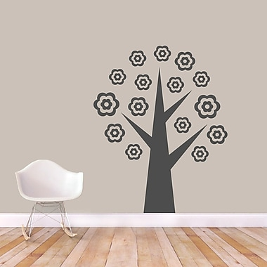 SweetumsWallDecals Flower Tree Wall Decal; Dark Gray
