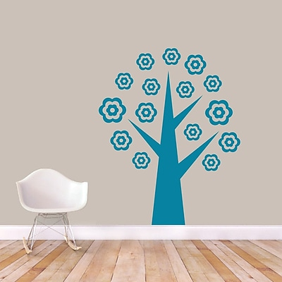 SweetumsWallDecals Flower Tree Wall Decal; Teal
