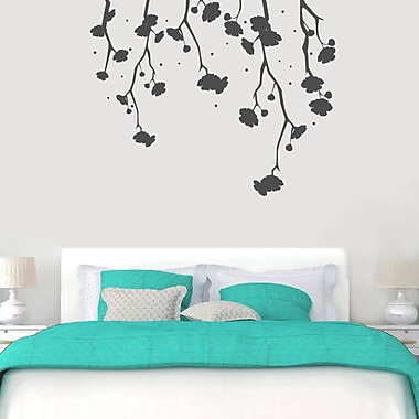 SweetumsWallDecals Hanging Flowers Wall Decal; Dark Gray