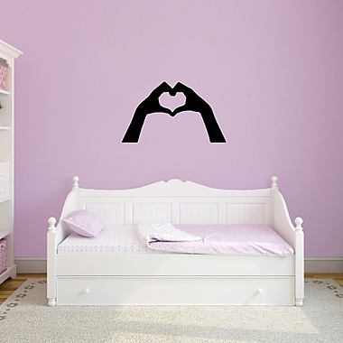 SweetumsWallDecals Heart Hands Wall Decal; Black