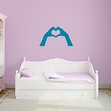 SweetumsWallDecals Heart Hands Wall Decal; Teal