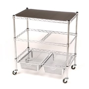 Seville Classics 3-Tier Legal Office File & Utility Cart w/ 2 Baskets