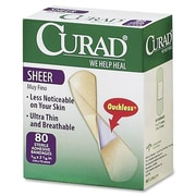 "Curad Sheer Bandage Strips, 0.75"" x 3"", 80BX, Sheer, Clear, Fabric"
