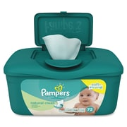 Pampers Natural Clean Wipes, Green, Unscented, Hypoallergenic, Strong, Durable, Soft, For Skin, 72 Sheets, 8/CT (PGC28252CT)