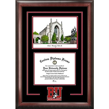 NCAA Boston University Spirit Graduate Diploma w/ Campus Images Lithograph Picture Frame