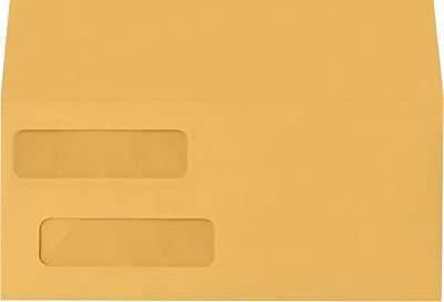 LUX Double Window Invoice Envelopes (4 1/8 x 9 1/8) 250/Box, 28lb. Brown Kraft (INVDW-28BK-250)