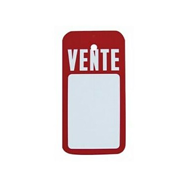 Displetech ''Vente'' Tag With Slit, 2-1/2''x5'', White Printed Red, 1000/Pack (7910045)