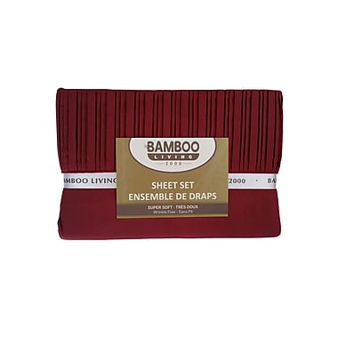 Bamboo Living 2000 – Ensemble de draps, rouge, lit double (SHEETSet,RPCBBDR)