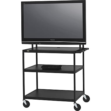 Bretford Basics TV Stand, 3 Shelves, Steel, Black, (FP60UL-E5BK)