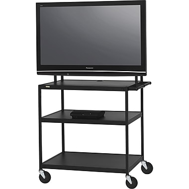 Bretford Basics TV Stand, 3 Shelves, Steel, Black, (FP60UL-P5BK)