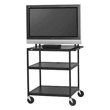 Bretford Basics TV Stand, 3 Shelves, Steel, Black, (FP42UL-E5BK)
