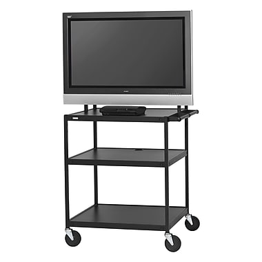 Bretford Basics TV Stand, 3 Shelves, Steel, Black, (FP42UL-P5BK)