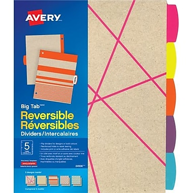 AveryMD – Intercalaires réversibles Big TabMC en papier Kraft, ensemble de 5 onglets