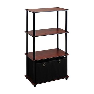 Wildon Home Etagere Bookcase; Dark Cherry / Black