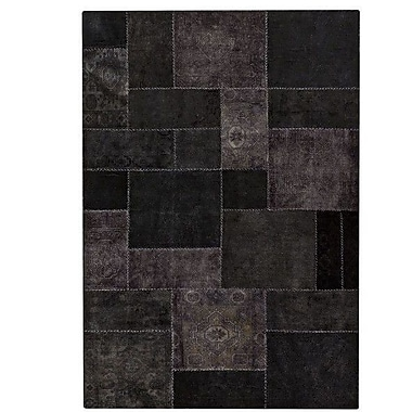 Hokku Designs Renaissance Hand-Knotted Black Area Rug; 6'6'' x 9'6''