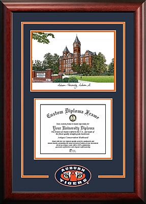 NCAA Auburn University Spirit Graduate Diploma w/ Campus Images Lithograph Picture Frame