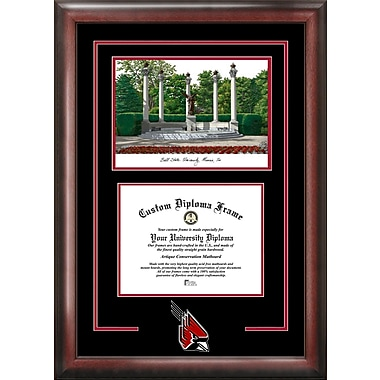 NCAA Ball State University Spirit Graduate Diploma w/ Campus Images Lithograph Picture Frame