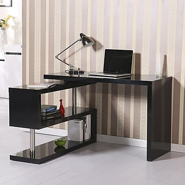 HomCom Rotating L-Shape Computer Desk; Black