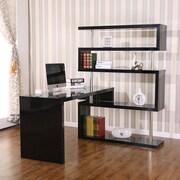 HomCom Foldable Rotating Corner Writing Desk; Black