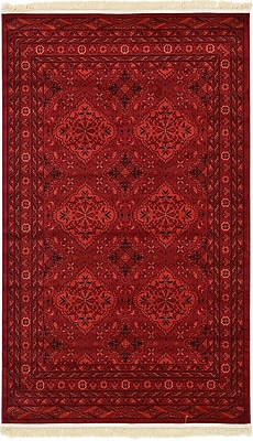 Unique Loom Bokhara Red Area Rug; 5' x 8'