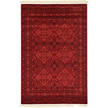 Unique Loom Bokhara Red Area Rug; 4' x 6'