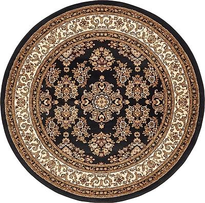 Unique Loom Isfahan Black Area Rug; Round 6'7''