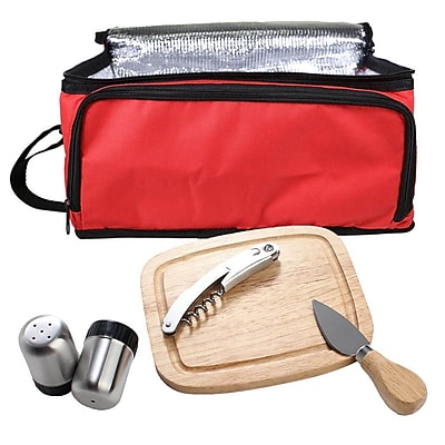 Natico Picnic Set Cooler Bag  6 Piece  Red (60-910-RD)