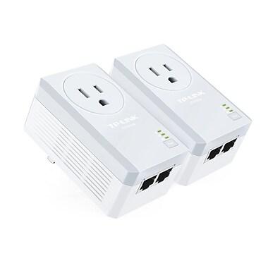 TP-LINK – Trousse de 2 adaptateurs CPL AV500 2 ports Ethernet avec prise gigogne, TL-PA4020P KIT