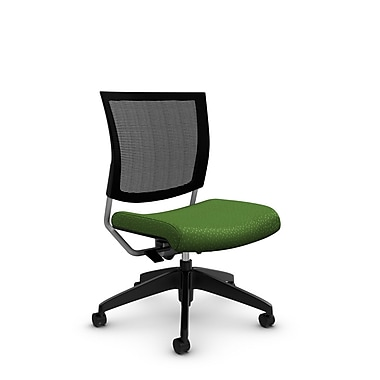 Global® (2736MB MT27) Graphic Mesh Posture Armless Chair, Match Green Fabric, Green