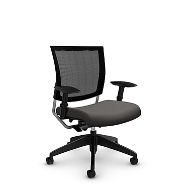 Global® (2738MB IM82) Graphic Mesh Posture Chair, Imprint Graphite Fabric, Grey