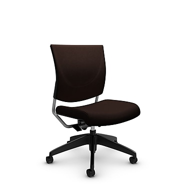 Global® (2737 IM80) Graphic Posture Armless Chair, Imprint Walnut Fabric, Brown