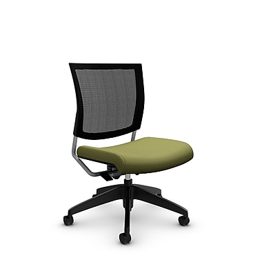 Global® (2736MB IM78) Graphic Mesh Posture Armless Chair, Imprint Celery Fabric, Green