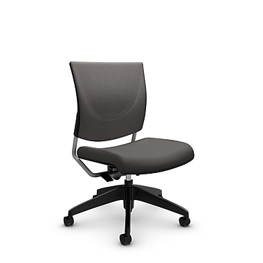 Global® (2737 IM82) Graphic Posture Armless Chair, Imprint Graphite Fabric, Grey