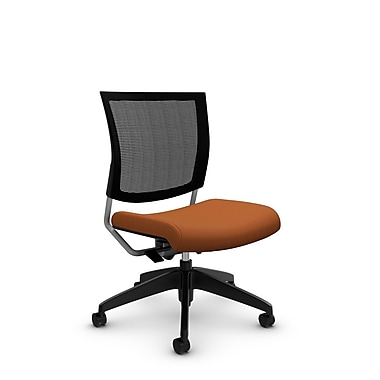 Global® (2736MB IM81) Graphic Mesh Posture Armless Chair, Imprint Paprika Fabric, Orange