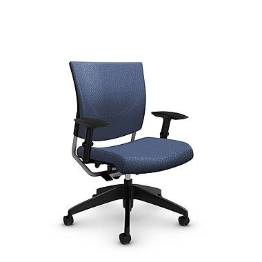 Global® (2739 MT25) Graphic Posture Chair, Match Blue Fabric, Blue
