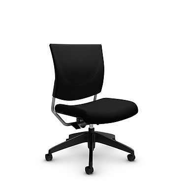 Global® (2737 IM84) Graphic Posture Armless Chair, Imprint Licorice Fabric, Black