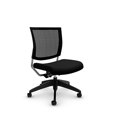 Global® (2736MB IM84) Graphic Mesh Posture Armless Chair, Imprint Licorice Fabric, Black