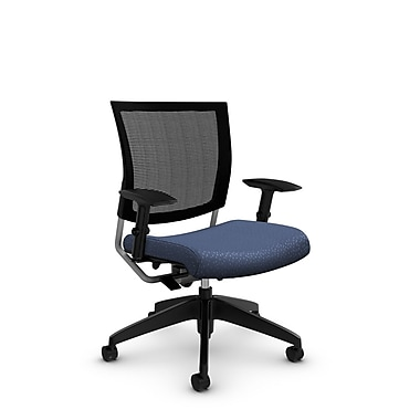Global® (2738MB MT25) Graphic Mesh Posture Chair, Match Blue Fabric, Blue