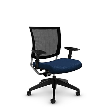 Global® (2738MB MT26) Graphic Mesh Posture Chair, Match Wave Fabric, Blue